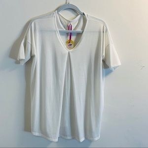 LUXE SZ LG White Boutique Short sleeve Top